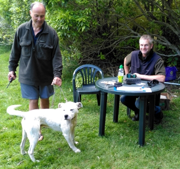 Jim Pottinger (sitting) during the most recent KAT for dogs weekend