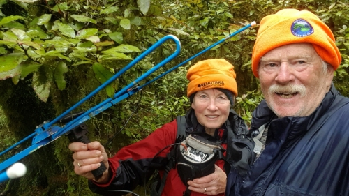 Jubilant Kiwi trackers find missing kiwi in the Remutaka Forest Park with their radio tracking gear
