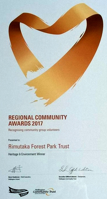 Heritage & Environment Award certificate for the Rimutaka Forest Park Trust at the Wellington Airport Regional Community Awards 2017